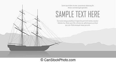 nave, paesaggio, navigazione