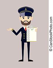 nave, pilota, capitano, lista, esposizione, -