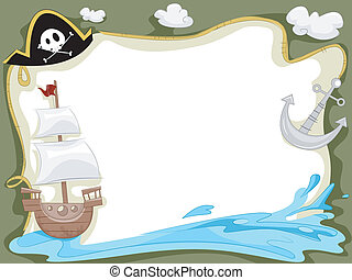 nave, pirata, fondo