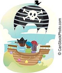 nave, pirata, pirati, aria, bambini, balloon, caldo, stickman