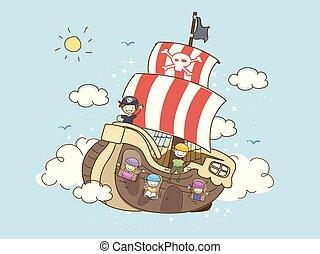 nave, pirati, nubi, bambini, galleggiante, stickman