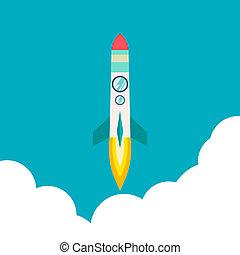 nave razzo, in, uno, appartamento, style., illustrazione, con, 3d, volare, rocket.space, viaggiare, a, il, moon.space, razzo, launch.project, avviare, e, sviluppo, process.innovation, prodotto, idea., management.