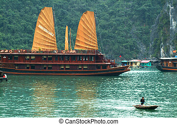 nave rifiuto, in, halaong, baia