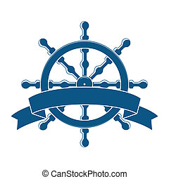 nave, ruota, con, banner., nautico, emblem., vettore
