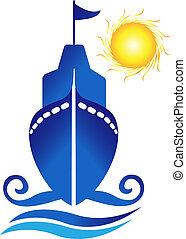 nave, sole, onde, logotipo, vettore