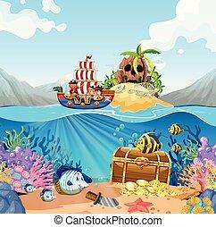 nave viking, bambini, scena, oceano