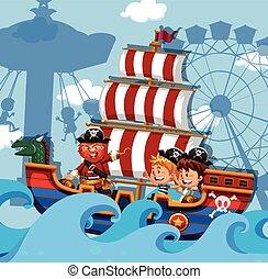 nave viking, bambini, scena