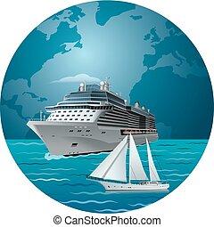 nave, yacht, crociera lusso
