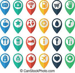 navegação, ícones