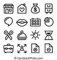 navegação, ícones, site web, menu, linha