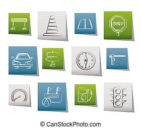 navegação, estrada, tráfego, ícones