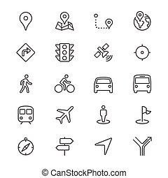 navegação, magra, ícones