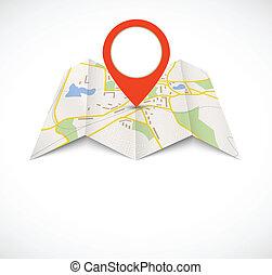 navegação, mapa, com, vermelho, alfinete