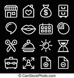 navegação, site web, menu, ícone, branca