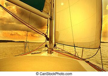 navegación, a, el, salida del sol