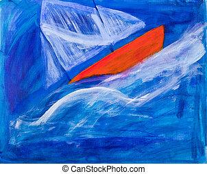 navegación, carreras, pintura, barco