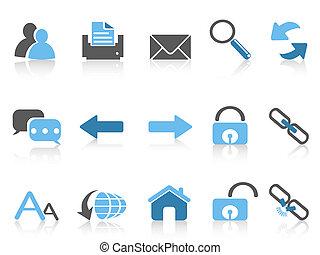navegación de web, iconos, azul, serie