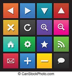 navegación de web, iconos, en, coloreado, azulejos, plano, diseño