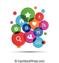 navegación de web, iconos, en, colorido, ballons, vector, ilustración