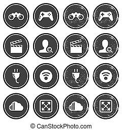 navegación de web, iconos, en, retro, etiqueta