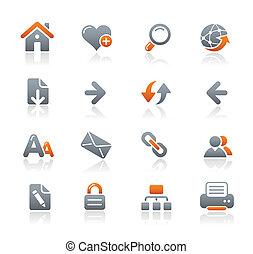 navegación de web, iconos, /, grafito