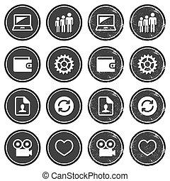 navegación de web, iconos, retro, etiquetas