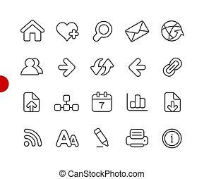navegación de web, iconos, //, rojo, punto, serie