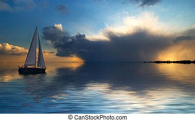 navegación en la puesta del sol