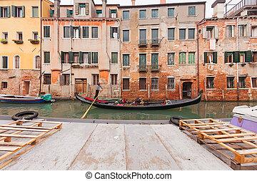 navegación, góndola, en, venecia