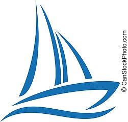 navegación, logo., barco, yate, logotipo, design.