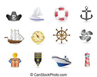 navegación, naval, iconos, marina