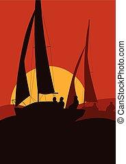 navegación, paisaje, ocaso, yates, océano, regata