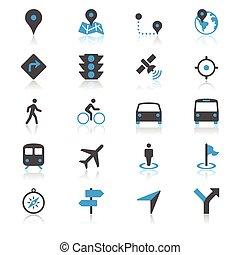 navegación, plano, con, reflexión, iconos