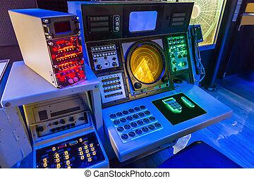 navegación, portaaviones, equipment.