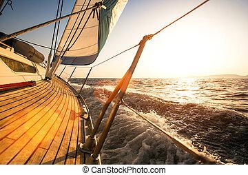 navegación, regata, durante, sunset.