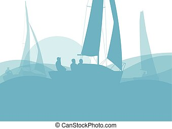 navegación, resumen, yate, vector, plano de fondo, barco,...