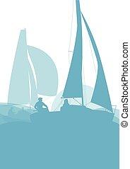 navegación, resumen, yate, vector, plano de fondo, barco, ...