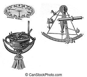 navegación, sextante, equipo, compás