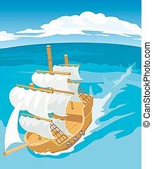 navegación, ship., viejo, ilustración, vector, plano