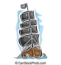 navegación, vector, logotipo, barco, pirata