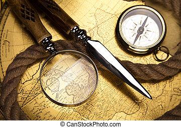 navegación, vendimia, equipo, compas