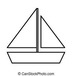 navegación, viaje, vacaciones, lineal, turismo, verano, estilo, icono, velero