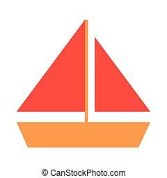 navegación, viaje, vacaciones, plano, turismo, verano, estilo, icono, velero