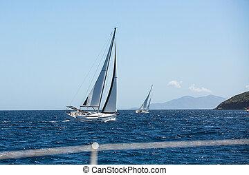 navegación, yates, sea., barco, velas, blanco