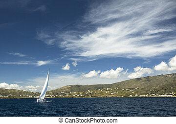 navegación, yates, yachts., sails., lujo, barco, blanco