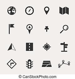 navegar, conjunto, icono