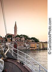 navegue barco, e, charming, rovinj, croácia