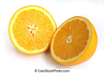 Navel orange cut in half - The two halves of a navel orange,...