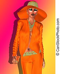Navel Orange, fashion woman - Woman wearing a floppy orange...
