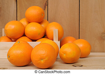 navel orange fruit in crate on wooden shelf